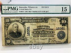 1902 Gros Billet De 10 $ DIX Dollars Monnaie Nationale Kenosha Wisconsin Bank Pmg 15