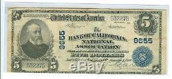 1902 Monnaie Nationale De La Banque De Californie De Cinq Dollars # 9655 Cir