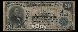 1902 Pb 20 $ Cedar Rapids Iowa National Bank Note Devise Circ Fine (577)