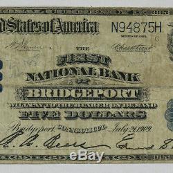 1902 Pb $ 5 Banque Nationale Note Monnaie Bridgeport Connecticut Circ Fin + (875h)