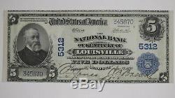 1902 Pb $ 5 Banque Nationale Note Monnaie Louisville Kentucky Choix Vf + Plus (870)