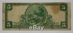 1902 Pb $ 5 De New York Banque Nationale Note Devise Stained Vf Very Fine 034