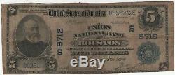 1902 Pb $ 5 Union Banque Nationale Houston Texas Billet De Banque National Amende