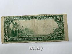 1902 Plain Back 20 $ Monnaie Nationale La Banque Nationale De Bristol, Va