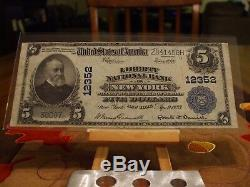 1902 Série 5 $ Monnaie Nationale, Vf +, Ch # 12352, Liberté Banque Nationale À New York