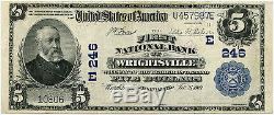 1902 Series National Currency 5 $ Note Première Banque Nationale De Wrightsville Pa