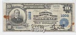 1905 Échange De Billets De Banque National De 10 $ À La Banque Nationale De La Banque Nationale De Milwaukee, N ° 1003
