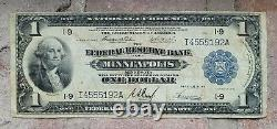 1914 $1 Dollar Minneapolis, Mn Federal Reserve Bank Note Monnaie Nationale