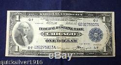 1918 1 Monnaie Nationale La Banque Fédérale De Réserve De Chicago Note
