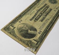 1918 1 $ New York Frb Fr 713 Billet De Banque National Monnaie 1914 Article # 16374f