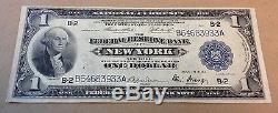 1918 $ 1 Us National Currency New York Federal Reserve Large Bill Bank Note