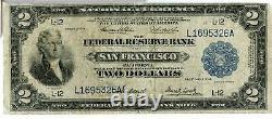 1918 $2 Banque De Réserve Fédérale San Francisco Monnaie Nationale Bataille Jl515