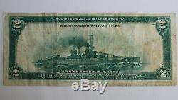 1918 Battleship $ 2 Banque De La Réserve Fédérale De New York Remarque Monnaie Nationale