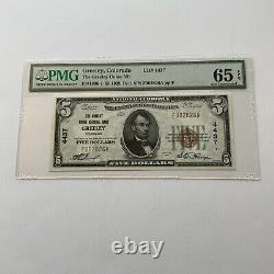 1924 Colorado $5 Monnaie Nationale La Greeley Union Banque Nationale Pmg