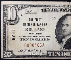 1929 10,00 $ Devise Nationale, Première Banque Nationale Du Lac Rib, Wisconsin