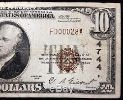 1929 10,00 $ Monnaie Nationale, American National Bank De Wausau, Wi! Faible Numéro De Série