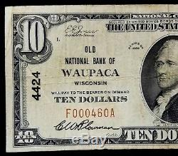 1929 10,00 $ Monnaie Nationale De L'ancienne Banque Nationale De Waupaca, Wisconsin
