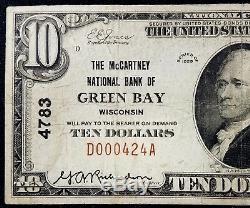 1929 $ 10,00 Monnaie Nationale, La Banque Nationale Mccartney De Green Bay, Wi