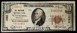 1929 $ 10.00 Monnaie Nationale Par Rapport Waukesha Banque Nationale De Waukesha, Wi