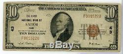 1929 10 $ 43 Monnaie Nationale Note First Bank Salem Ohio DIX Dollars Le746