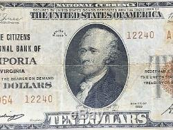 1929 10 $ Banque Nationale Des Emporia, Virginie Monnaie Nationale