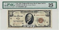 1929 $ 10 Dallas Tx Texas Federal Reserve Bank Note Brown Monnaie Nationale Key