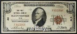 1929 10 $ De La Monnaie Nationale First National Bank Of Mcconnelsville, Ohio