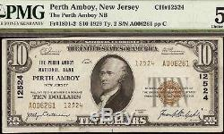1929 $ 10 Dollar Bill Perth Amboy Ty 2 National Bank Note Devise Pmg 58 Epq