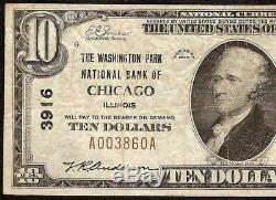 1929 10 $ Dollar Washington Park Chicago Banque Nationale Note Monnaie Billets