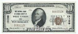 1929 $ 10 Dollars Us West Union Oh Billet De Monnaie Nationale Du Comté De Adams, Ch.