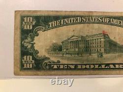 1929 $10 États-unis Nat. Bank Galveston Texas National Currency 12475 Type 2