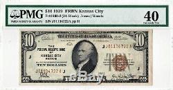 1929 $ 10 Kansas City Missouri Federal Reserve Bank Note Brown Monnaie Nationale