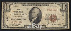 1929 10 $ La First National Bank Of Elbow Lake, Mn Monnaie Nationale # 4617