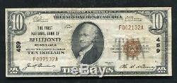 1929 10 $ La Première Banque Nationale De Bellefonte, Pa National Currency Ch. # 459