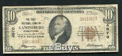 1929 10 $ La Première Banque Nationale De Canonsburg, Pa Monnaie Nationale Ch. # 4570