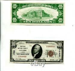 1929 $ 10 Lanark Illinois First National Bank Monnaie Remarque Ch Cu Low #
