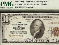 1929 $ 10 Minniapolis Brown Sceau Frbn Bank Note Monnaie Nationale 0money Pmg 55