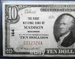 1929 10 $ Monnaie Nationale. Ch # 144 La Première Banque Nationale De Madison Wi. Rare