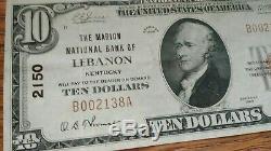 1929 10 $ Monnaie Nationale, Liban Ky Ch # 2150 Note Du Kentucky Bank Comté De Marion