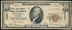 1929 10 $ Monnaie Nationale U. S. Nat. Bank & Trust Co, Kenosha, Wi Ch. # 12351