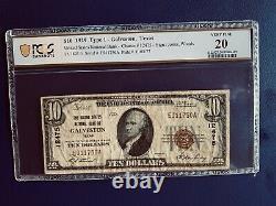 1929 $ 10 Texas Natl Monnaie Les Etats-unis Banque Nationale De Galveston Au Texas