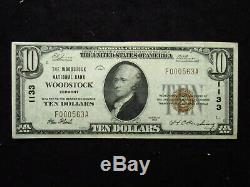 1929 $ 10 U. S. Monnaie Nationale Woodstock Vermont Banque Nationale Note
