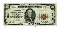 1929 $ 100 Monnaie Nationale First National Bank And Trust Co. Muskogee Oklahoma