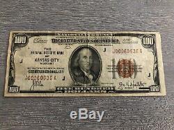 1929 $ 100 Réserve Nationale Monnaie Banque Fédérale De Kansas City Note