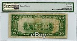 1929 20 $ Banque Nationale De Devises De L'association Nationale De Suisun, Californie Pmg Vf 25