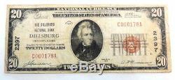 1929 $ 20 Banque Nationale Dillsburg Pa 2397 Papier Monnaie Nationale Remarque Argent