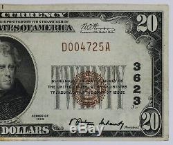 1929 20 $ Banque Nationale Note Devise Dallas Texas Choix Vf Very Fine (725a)