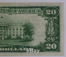 1929 20 $ Banque Nationale Note Devise Dallas Texas Choix Vf Very Fine (825a)