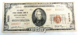 1929 $ 20 Banque Nationale Shamokin Pa 5625 Papier Monnaie Nationale Remarque Argent
