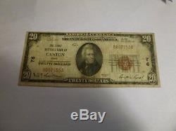 1929 20 $ Canton, Ohio Banque Nationale Monnaie Note